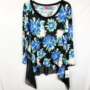 Sunny Leigh Tunic Top Blouse 3X Blue Floral NEW